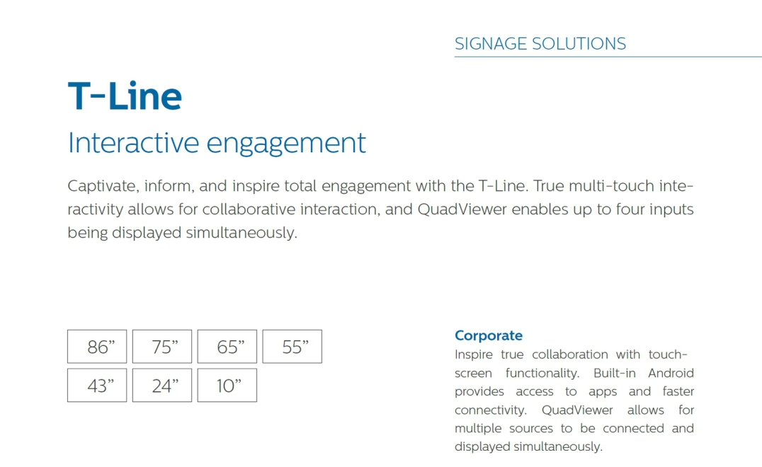 Philips T-LIne Touch Display - AV Networks